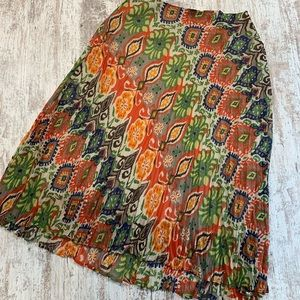 Tribal colorful patterned maxi skirt